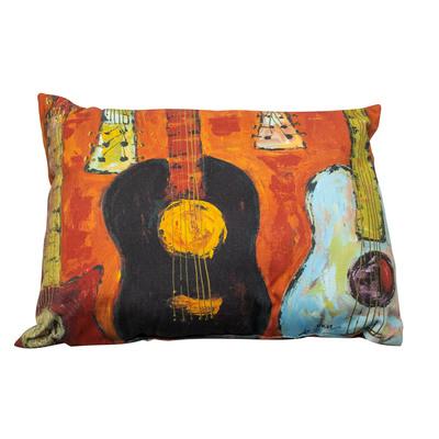 Guitar Watercolor Indoor/Outdoor Accent Pillow