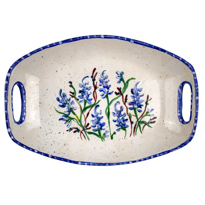 Bluebonnet Hand-Painted Ceramic Handled Tray