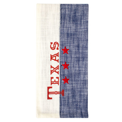 Texas Embroidered Cotton Tea Towel