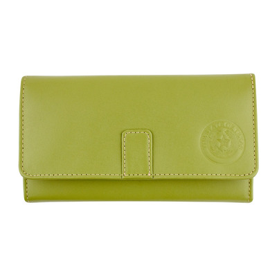 Apple Green Leather Long Tri-Fold Wallet