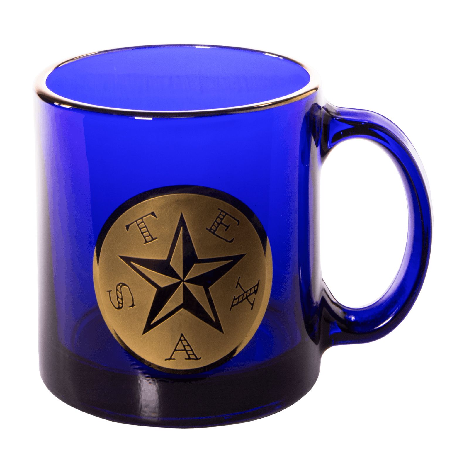 First Flag of the Republic of Texas Cobalt Blue Glass Mug