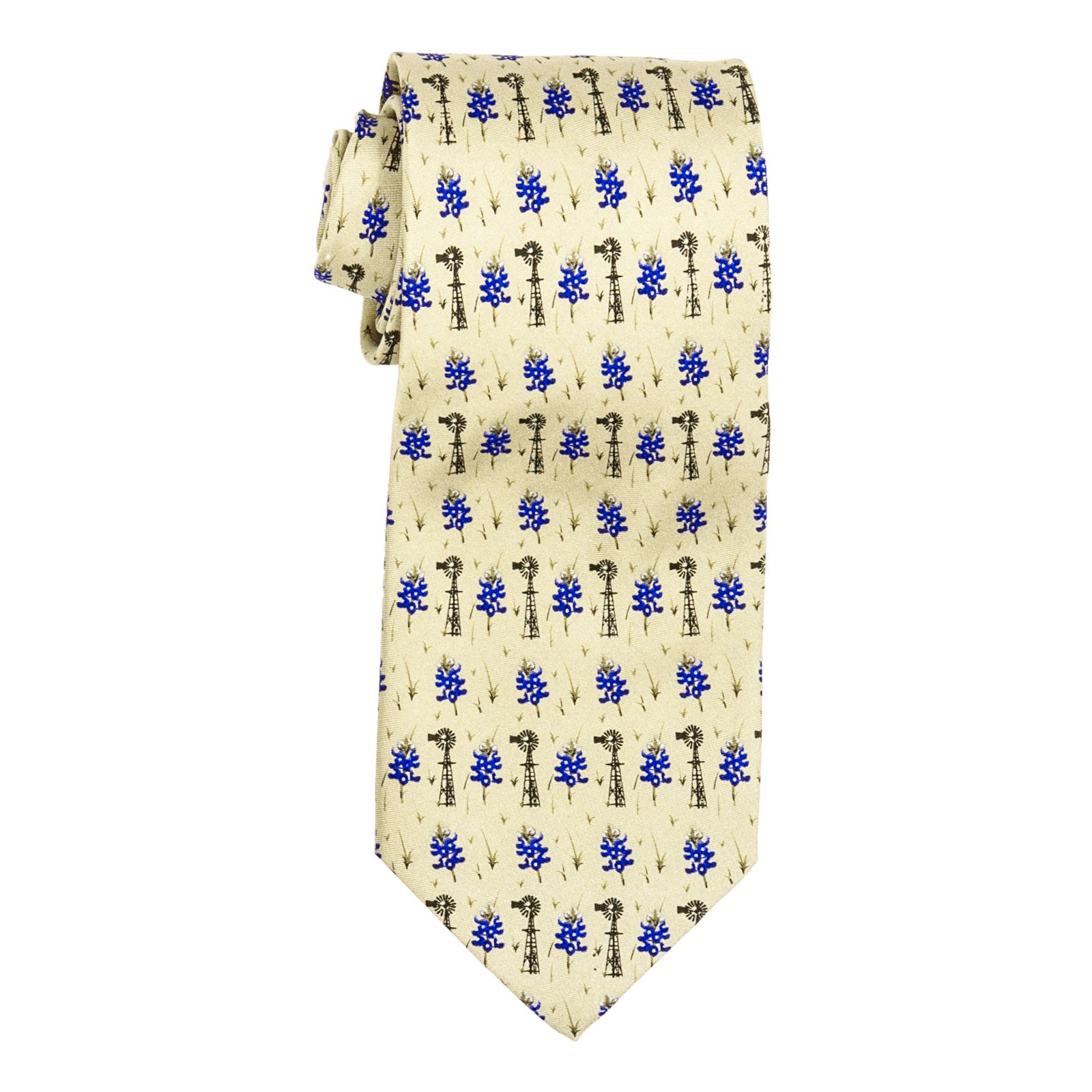 Bluebonnet and Windmill Tie