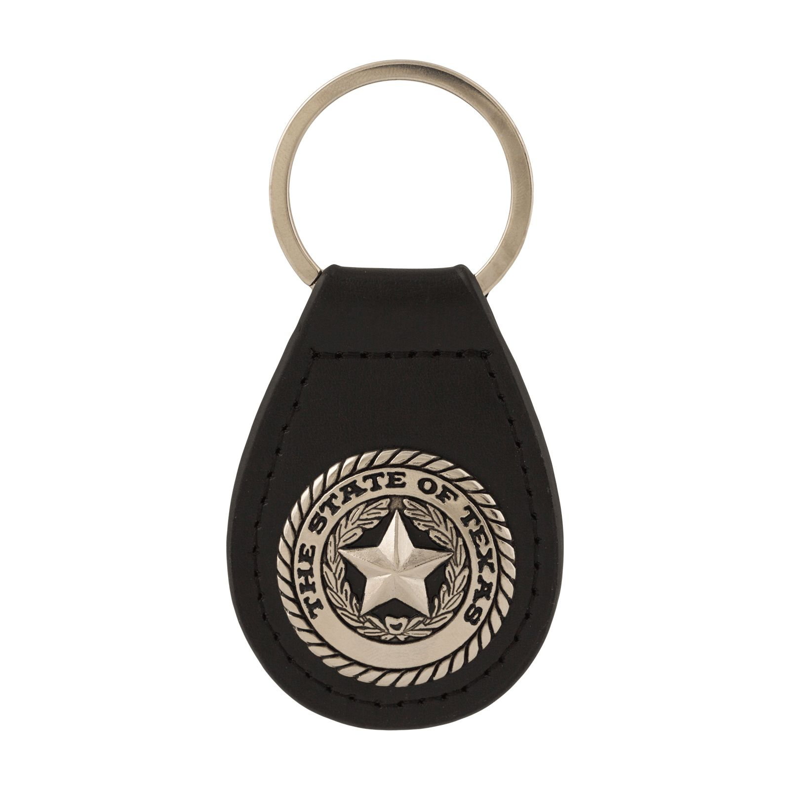 Black Leather State Seal Key Chain