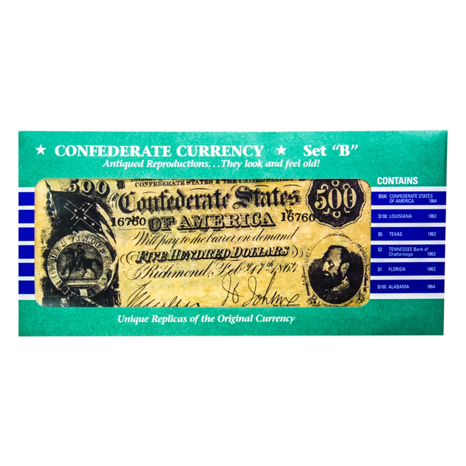 Replica Confederate Bank Note Set