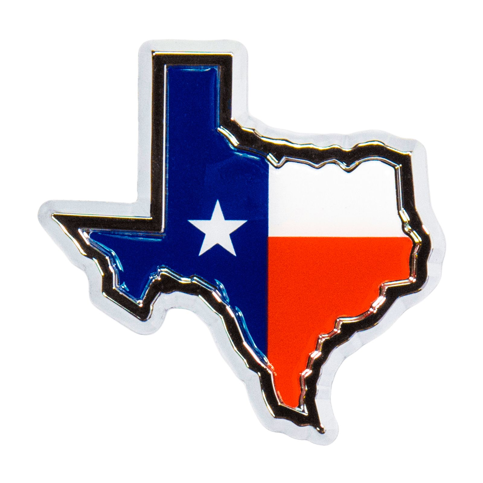 Texas Shaped Flag Auto Emblem