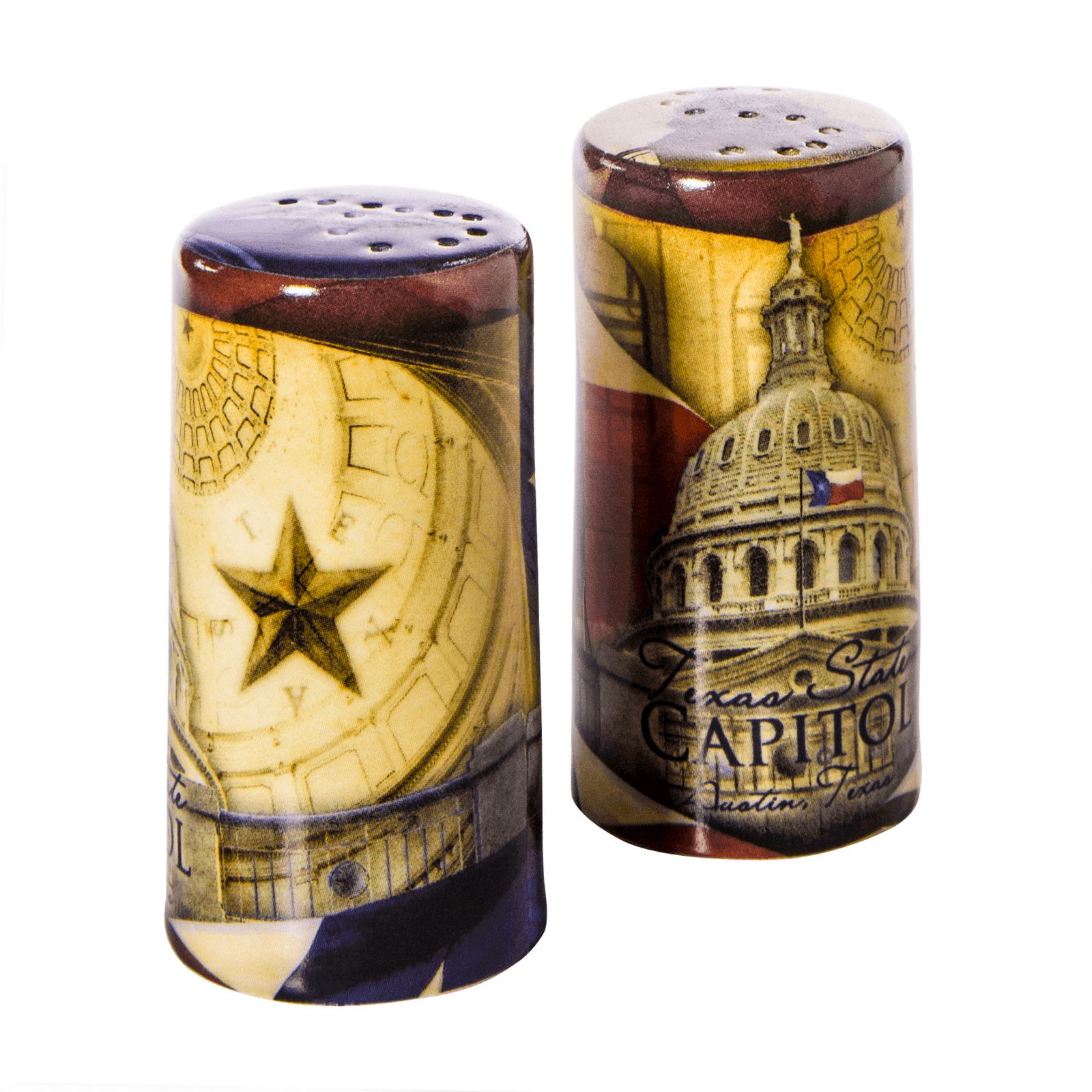Texas Capitol Collage Salt and Pepper Shaker Set