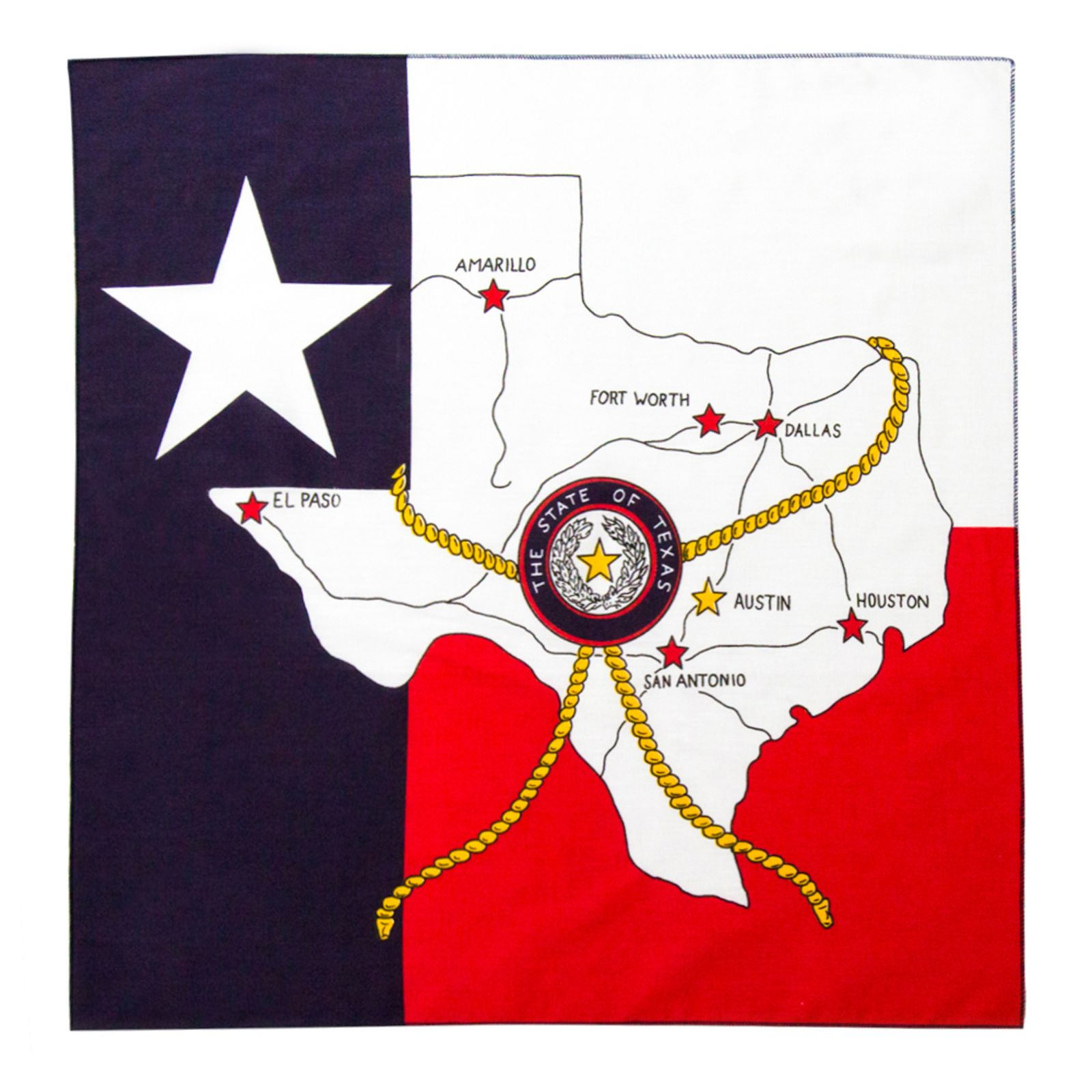 Road Map Of Texas State.Texas Roadmap And State Flag Bandana Texas Capitol Gift Shop
