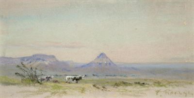 Frank Reaugh Cows and Sharp Peak, c. 1915