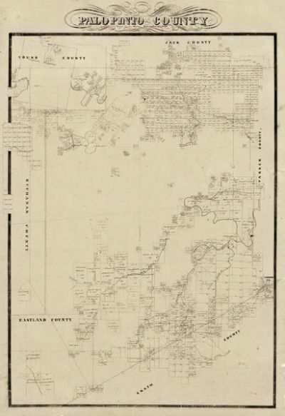 Texas General Land Office Map of Palo Pinto County 1856