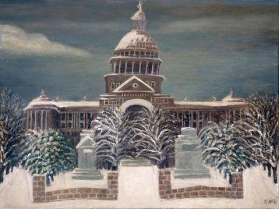 Ella Mae Connor (Mrs. G.T.) Bludworth Capitol Snow Scene, c. 1920