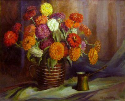 Emma Richardson Cherry Zinnias, 1915