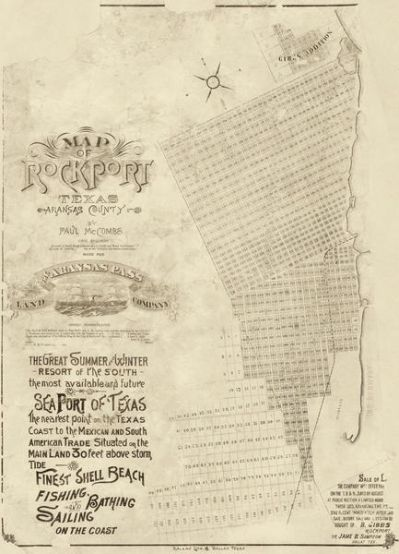 Paul McCombs Map of Rockport Texas, Aransas County 1888
