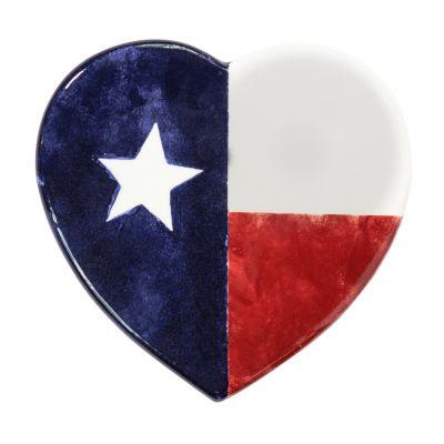 Brookwood Community Pottery Heart Shaped Texas Flag Ceramic Trivet