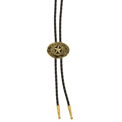 Texas State Seal Gold Tone and Black Enamel Bolo Tie