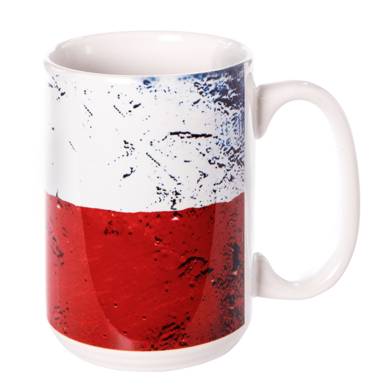 Texas State Flag Sponge-Painted Ceramic Mug