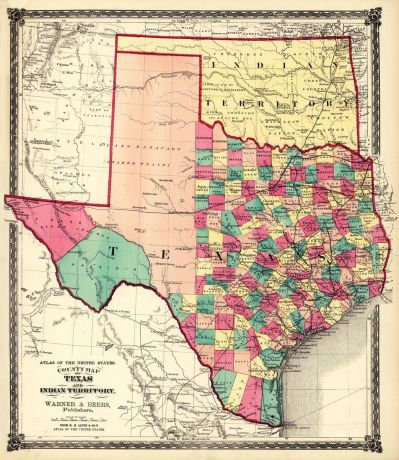 H.H. Lloyd & Co. County Map of Texas, and Indian Territory, 1874